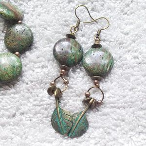 "Green Jasper + Brass Feathers ~ XLong 3"" Earrings"